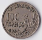 France, 100 Francs 1954, VF, WE875